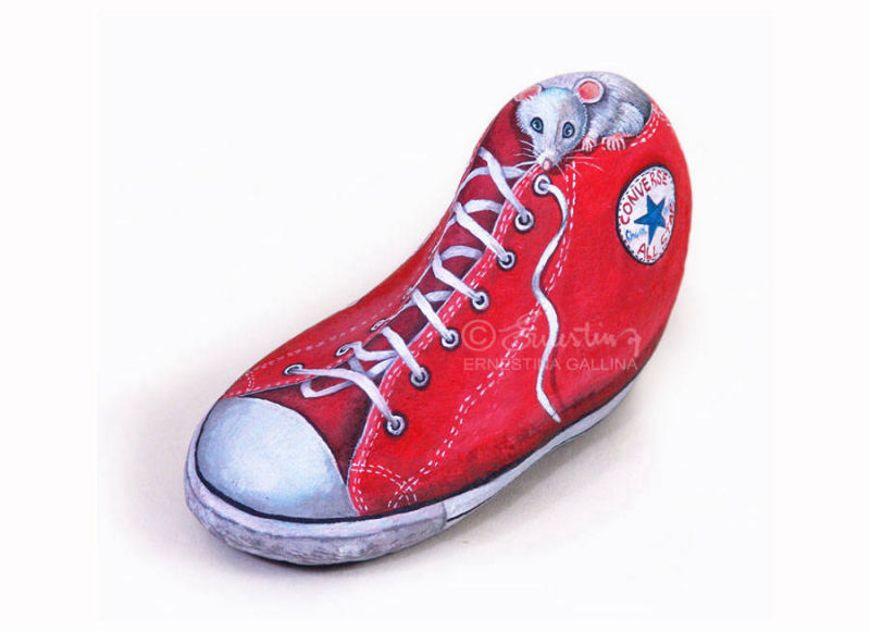 shoe painted on stone