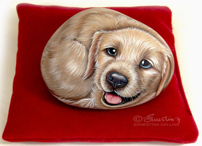 puppy dog hand painted on stone