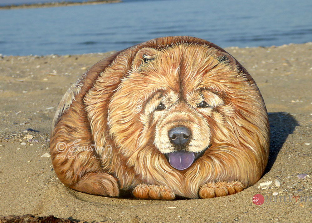 chow chow handpainted on stone