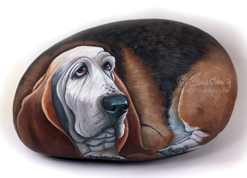 dog hand painted on stone