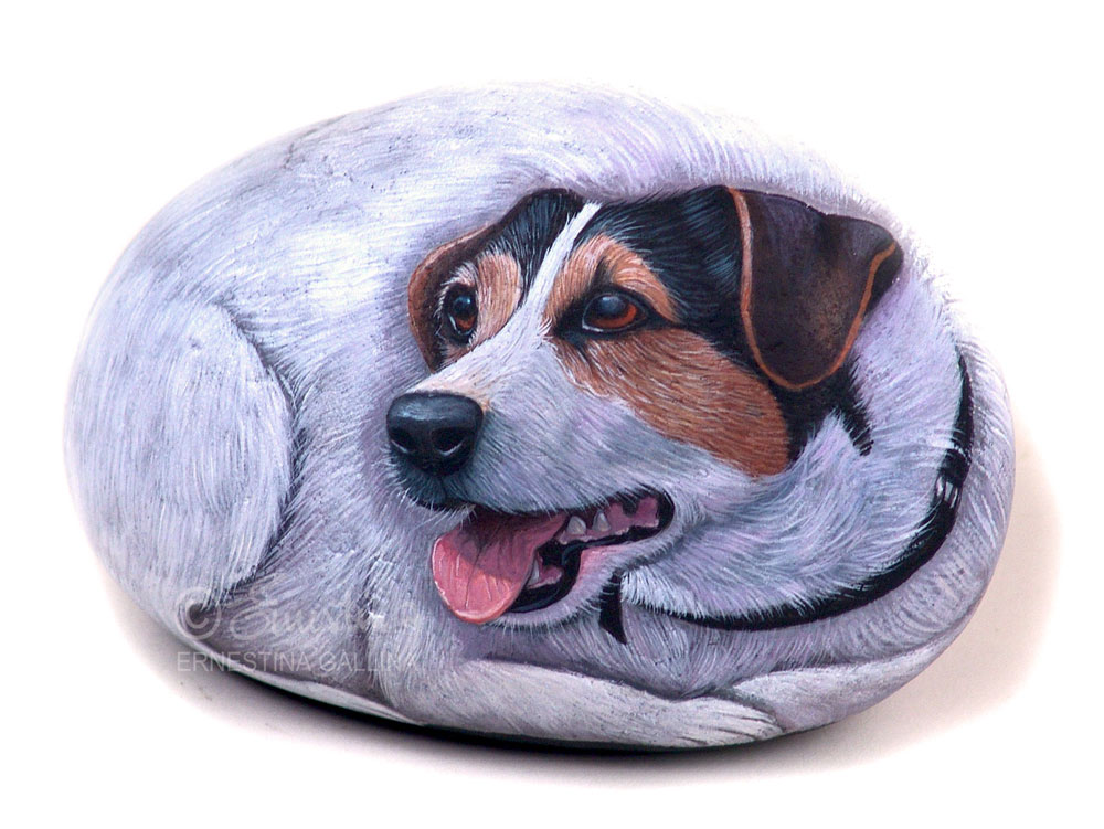 Jack russel dog hand painted on stone