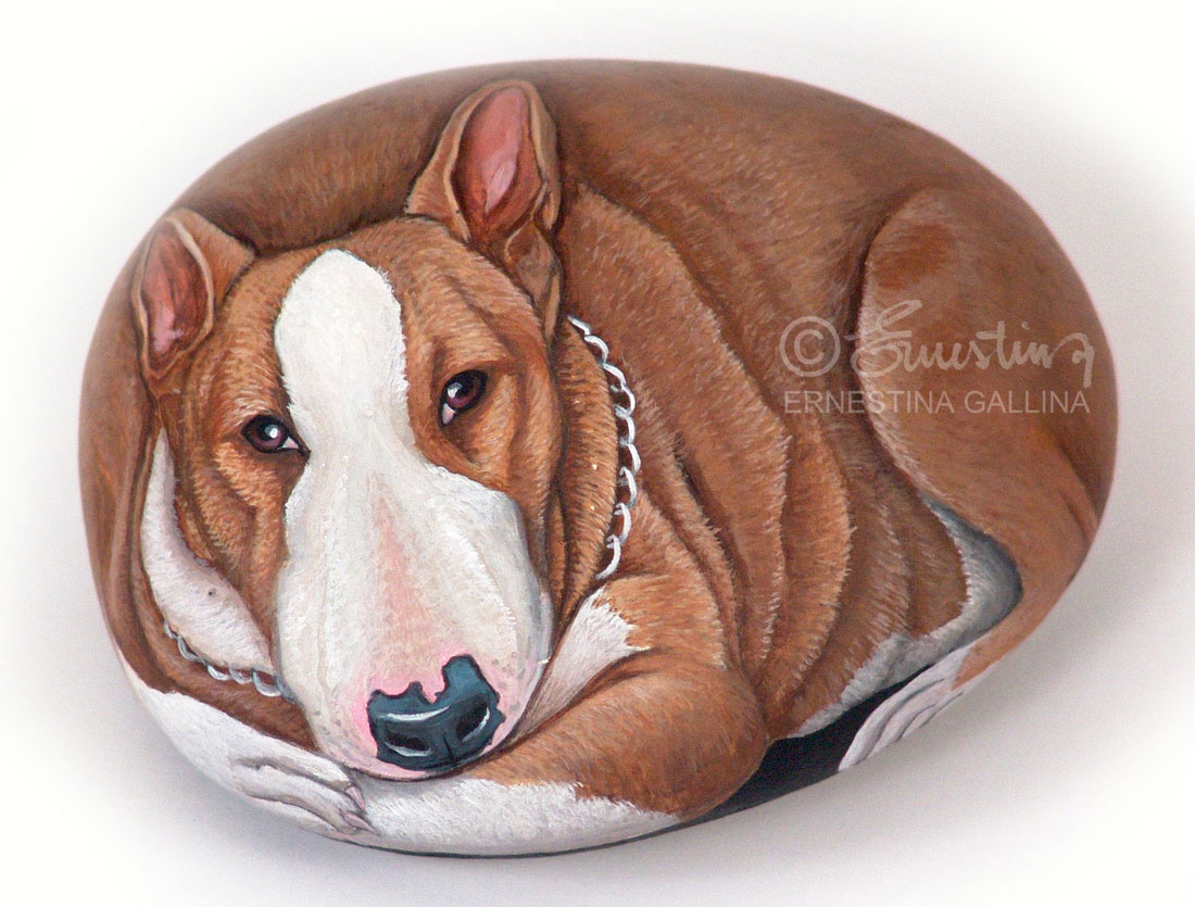 Bull terrier hand painted stone