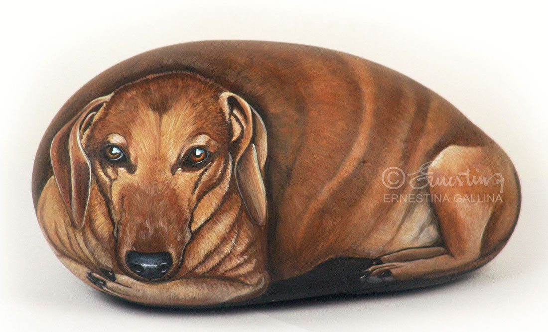 Dachshund hand painted on stone