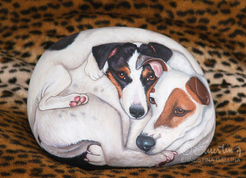 jack russel hand painted stone