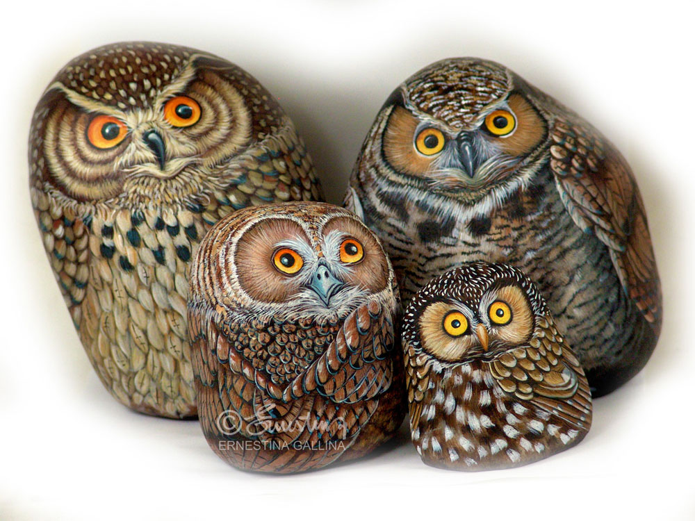 owls painted on rock
