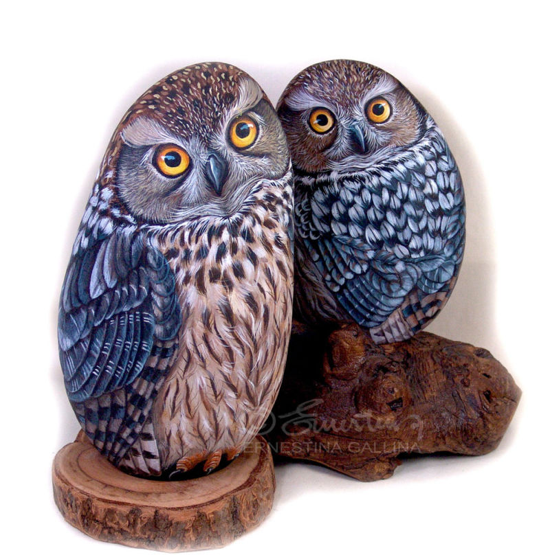 Owls painted stone