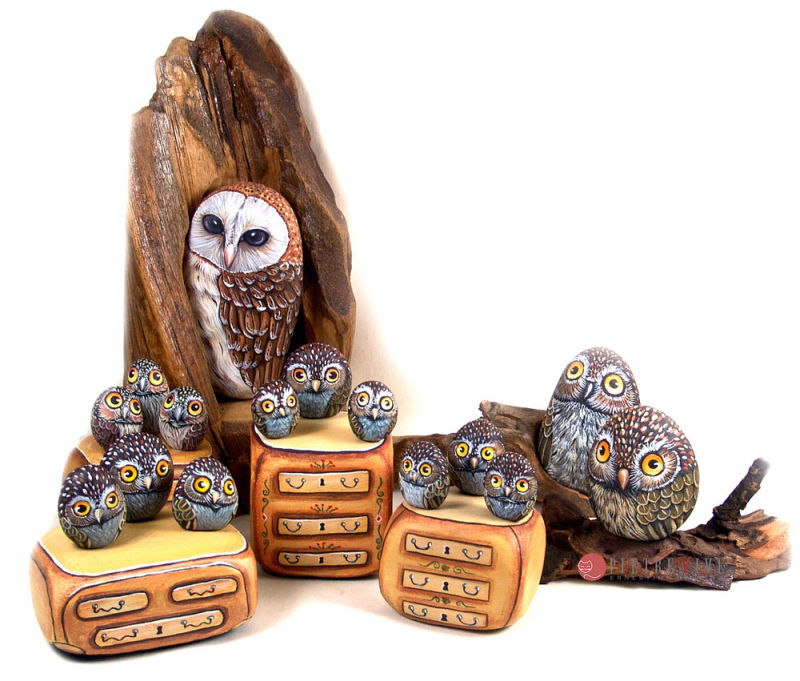 owls painted stones