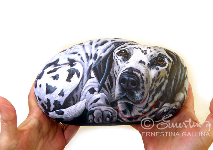 Dalmatian painted on stone