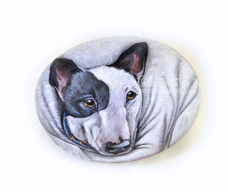 Bull terrier hand painted on stone